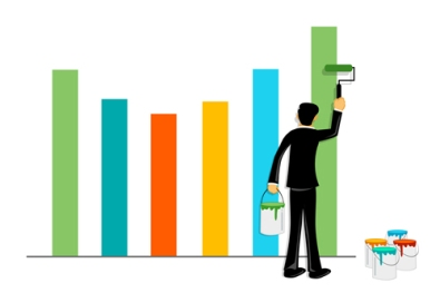 businessman painting graph